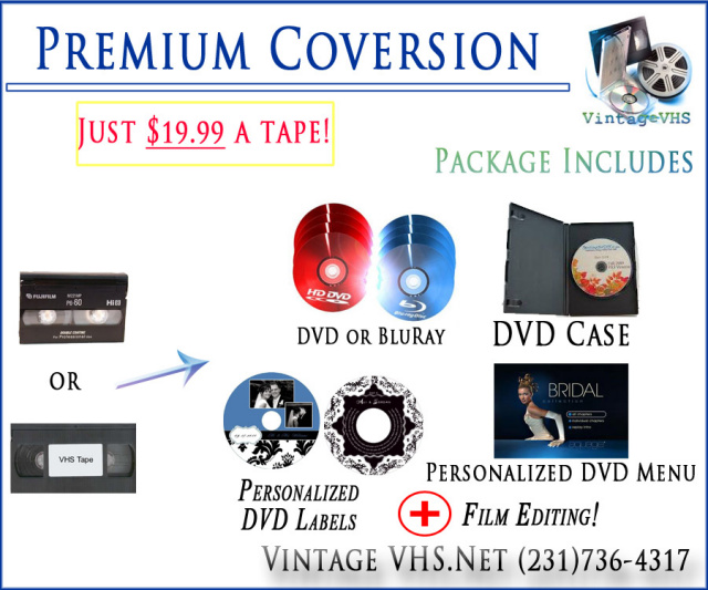 Premium Video Conversion Package Prime Time Print VHS Tapes DVDs converting menu making